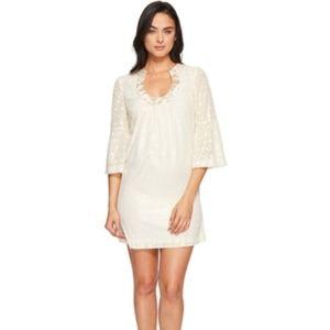 Trina Turk Bonita Dress in Cream and Gold, Sz 8